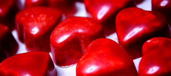 Chocolate heart bonbons from Fritz Knipschildt
