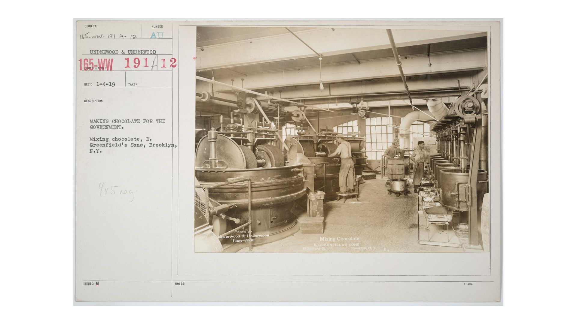Mixing Chocolate, E. Greenfield's Sons, Brooklyn, 1919