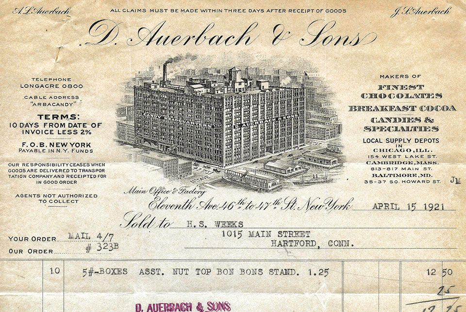 D. Auerbach and Sons, Invoice, 1921, detail