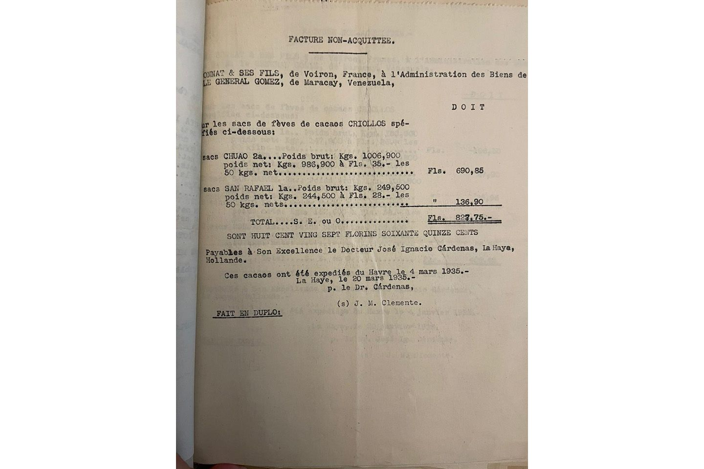 A 1935 invoice to Bonnat for beans from Venezuela.