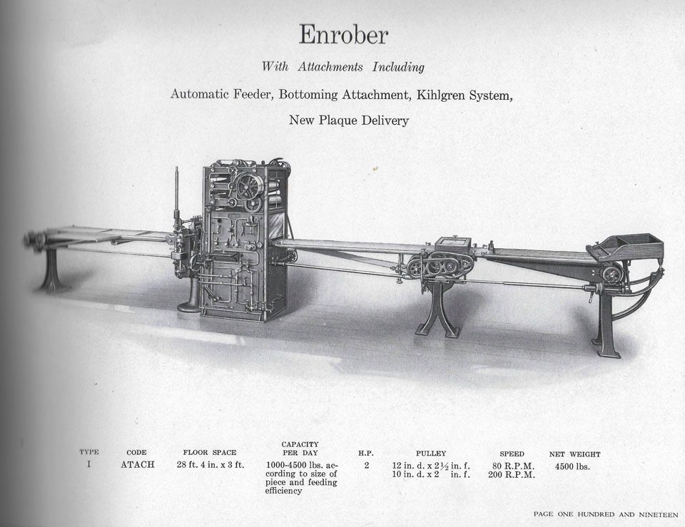 Enrober, National Equipment Company, Springfield, Massachusetts, Candy and Chocolate Machinery Catalog, ca.1920