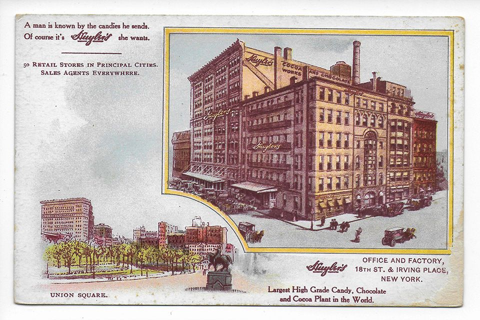 Huyler's, Irving Place Factory, Advertising Trade Card, ca. 1905