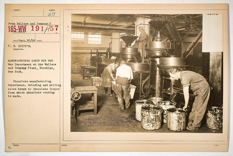Milling Chocolate Liquor, E. Wallace and Co., Brooklyn, 1918. Public Domain via the National Archives