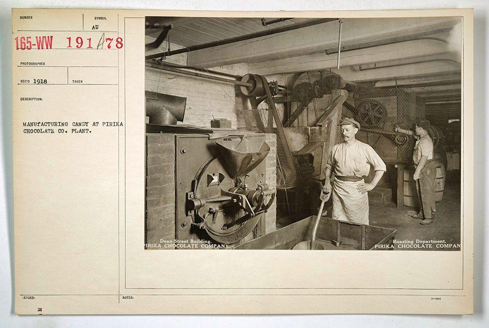 Roasting Department, Pirika Chocolate Co., Brooklyn, 1918, Public Domain, via the National Archives
